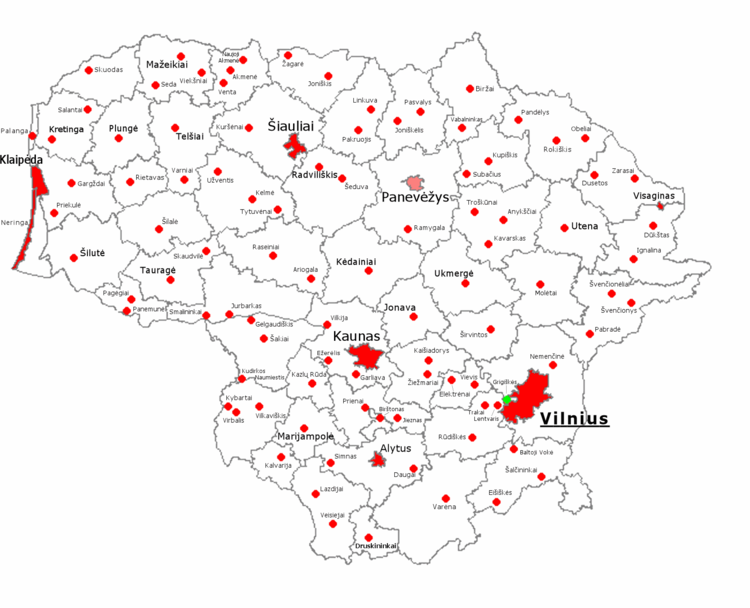 Mapa de las ciudades de Lituania