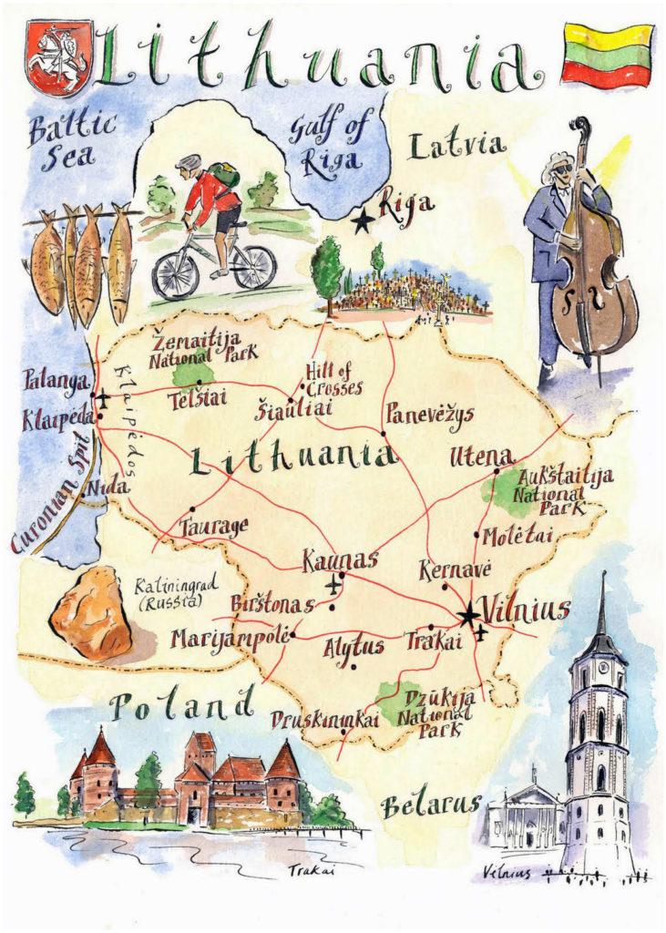 Mapa ilustrado de Lituania
