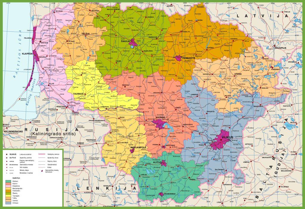 Mapa de regiones de Lituania