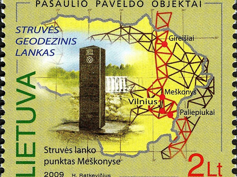 Sello conmemorativo del Arco Geodésico de Struve