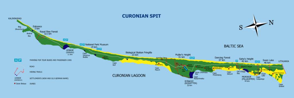 Mapa del istmo de Curlandia