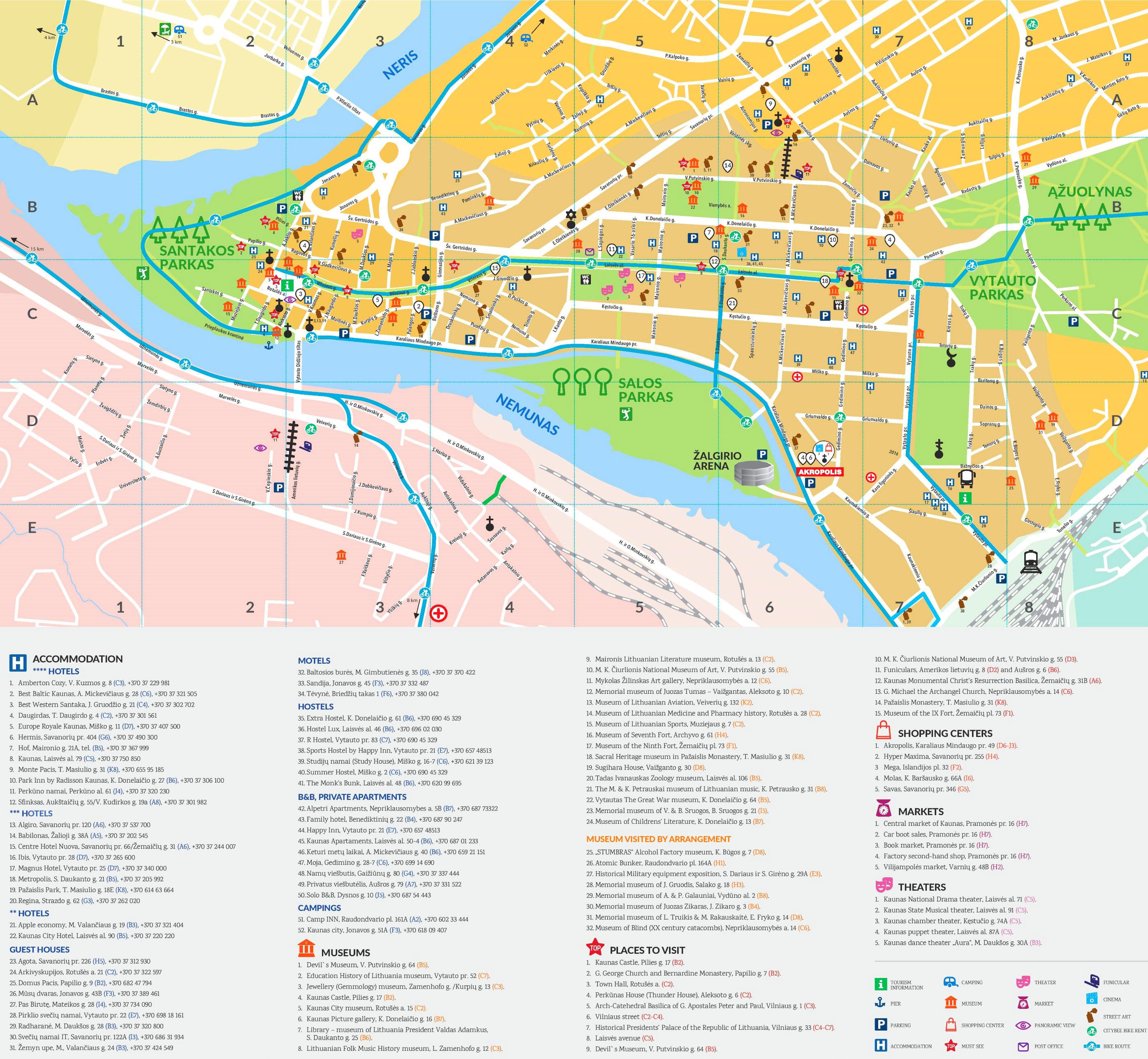 Mapa turístico de Kaunas