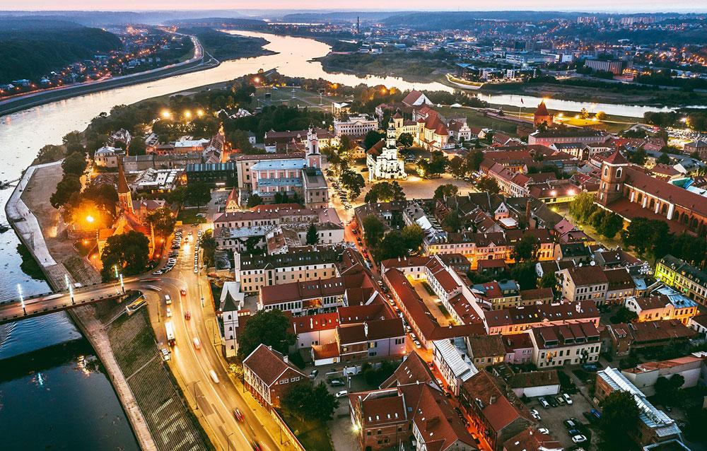 Vista aérea del centro de Kaunas
